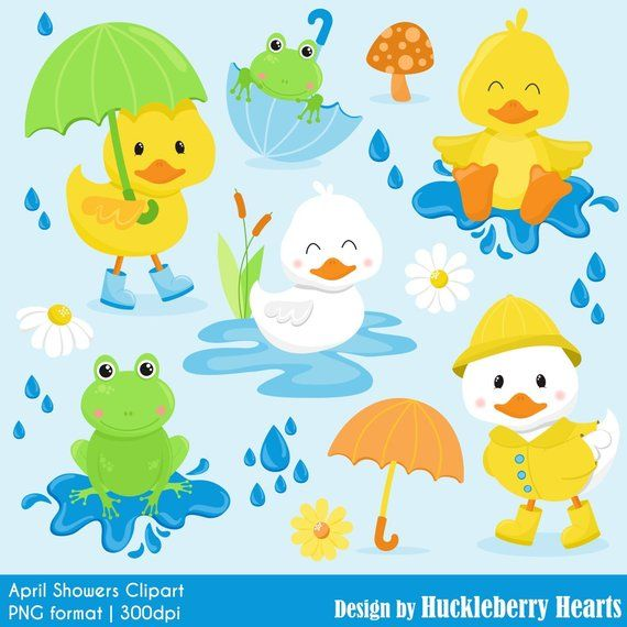 Duck Clipart, Frog Clipart, Spring Clipart, April Showers Clipart.
