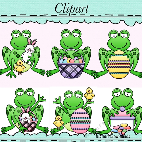 Easter Frogs Clip Art.