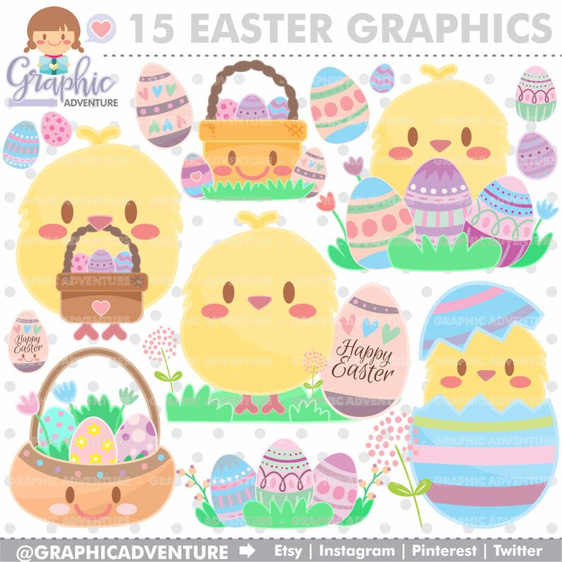 Easter Clipart, Easter Graphics, COMMERCIAL USE, Kawaii Clipart, Spring  Clipart, Planner Accessories, Spring Party, Easter Party.