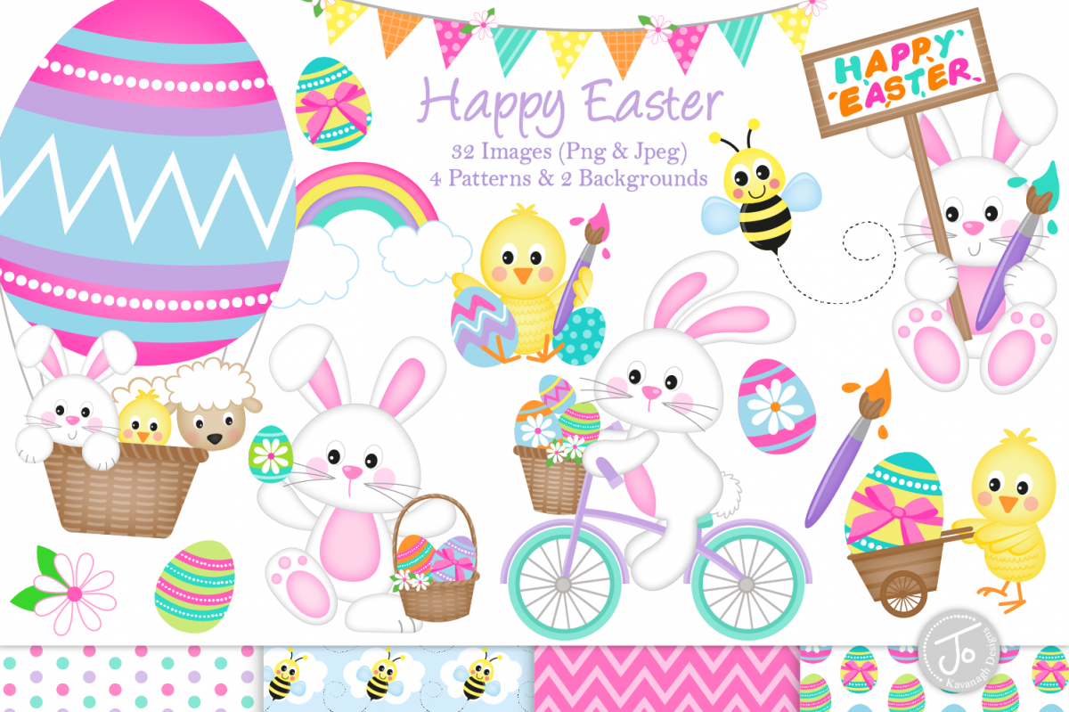 Easter bunny clipart, easter graphics & illustrations.