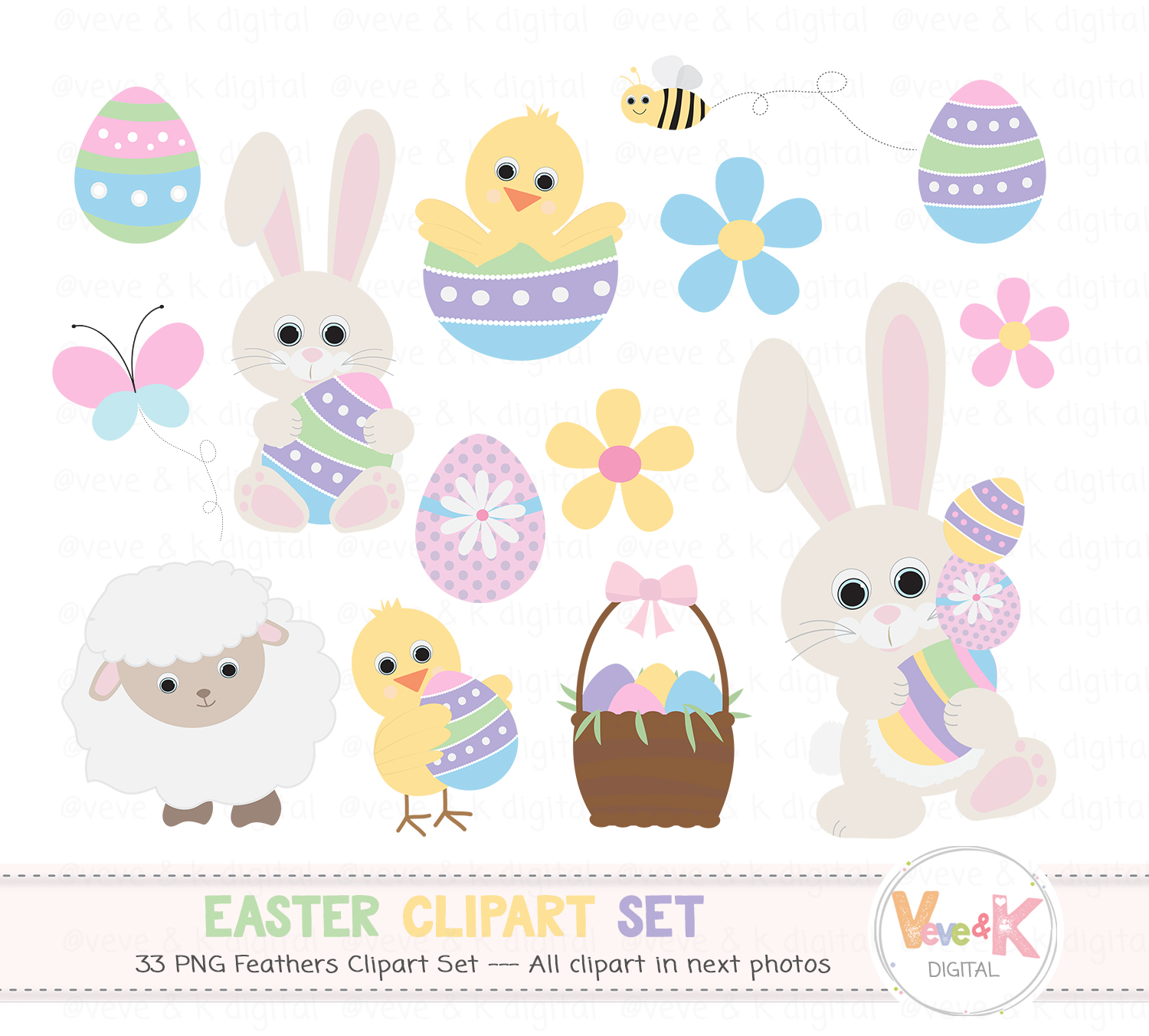 Easter Bunny Clipart, Easter Clipart, Easter Graphics, Spring Flowers,  Easter eggs basket, Easter egg hunt, Spring Clipart, Spring Critters.