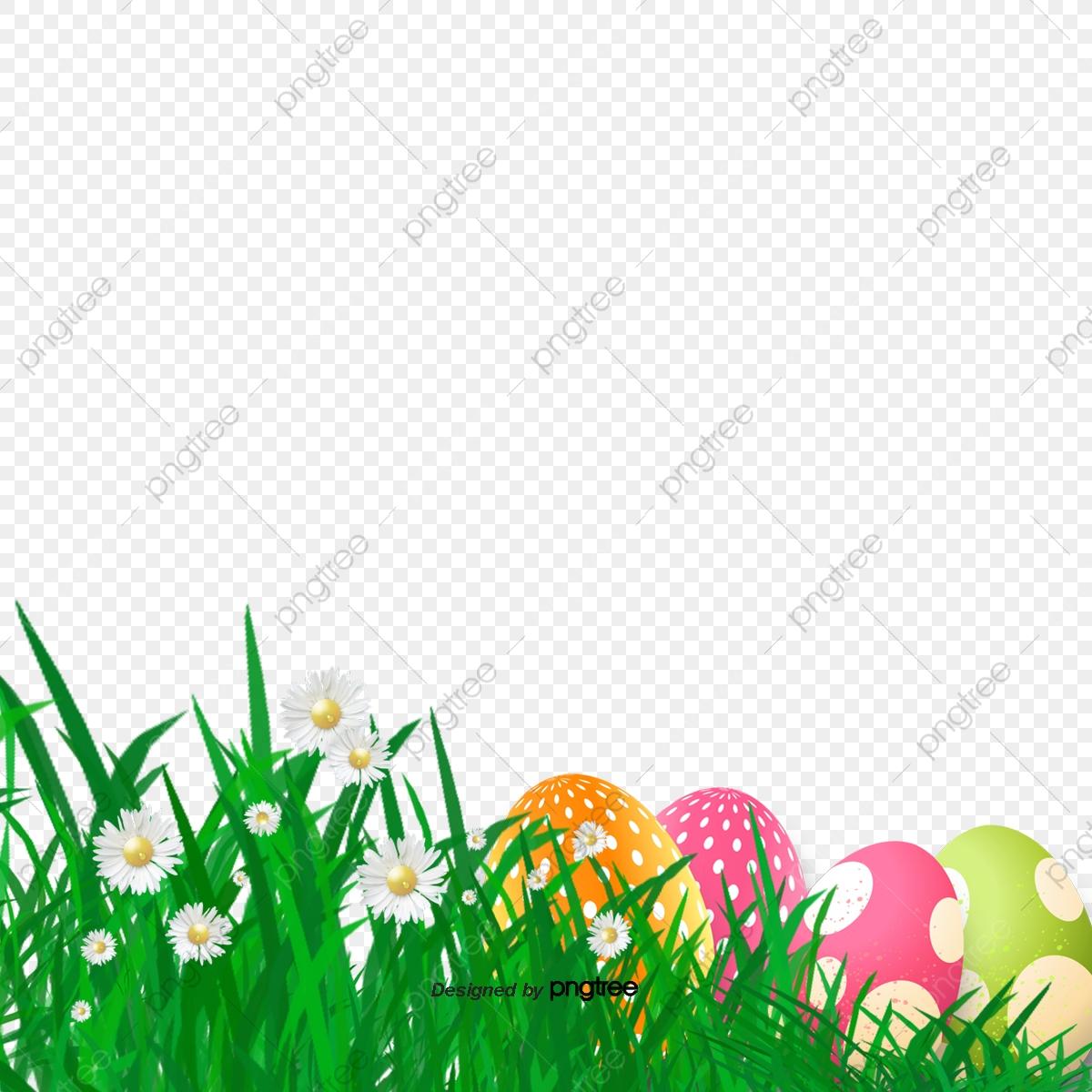 Easter Grass Egg Border Elements, Rabbit, Resurrection Rabbit.