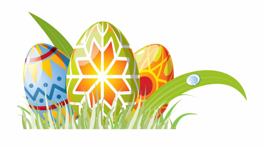 Easter Eggs With Grass Decoration Png Clipart.