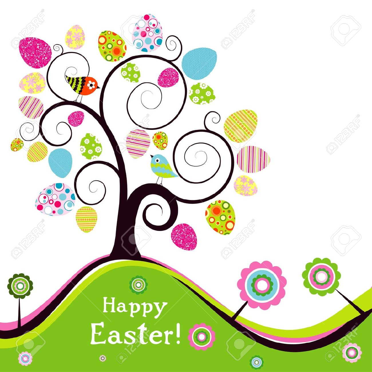 Template Easter Greeting Card, Vector Illustration Royalty Free.