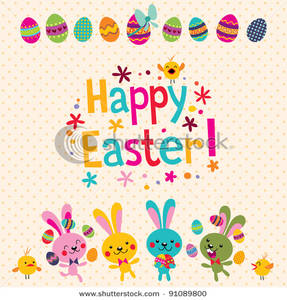 Free Clipart Image: Happy Easter Greeting Card.