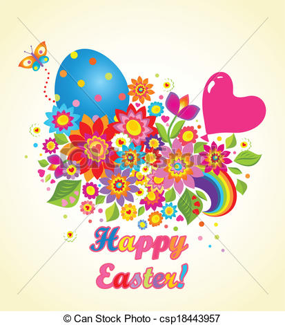 Clipart Vector of Funny easter greeting card with balloon.