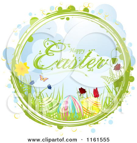 Clipart of a Happy Easter Greeting with Eggs Flowers and.