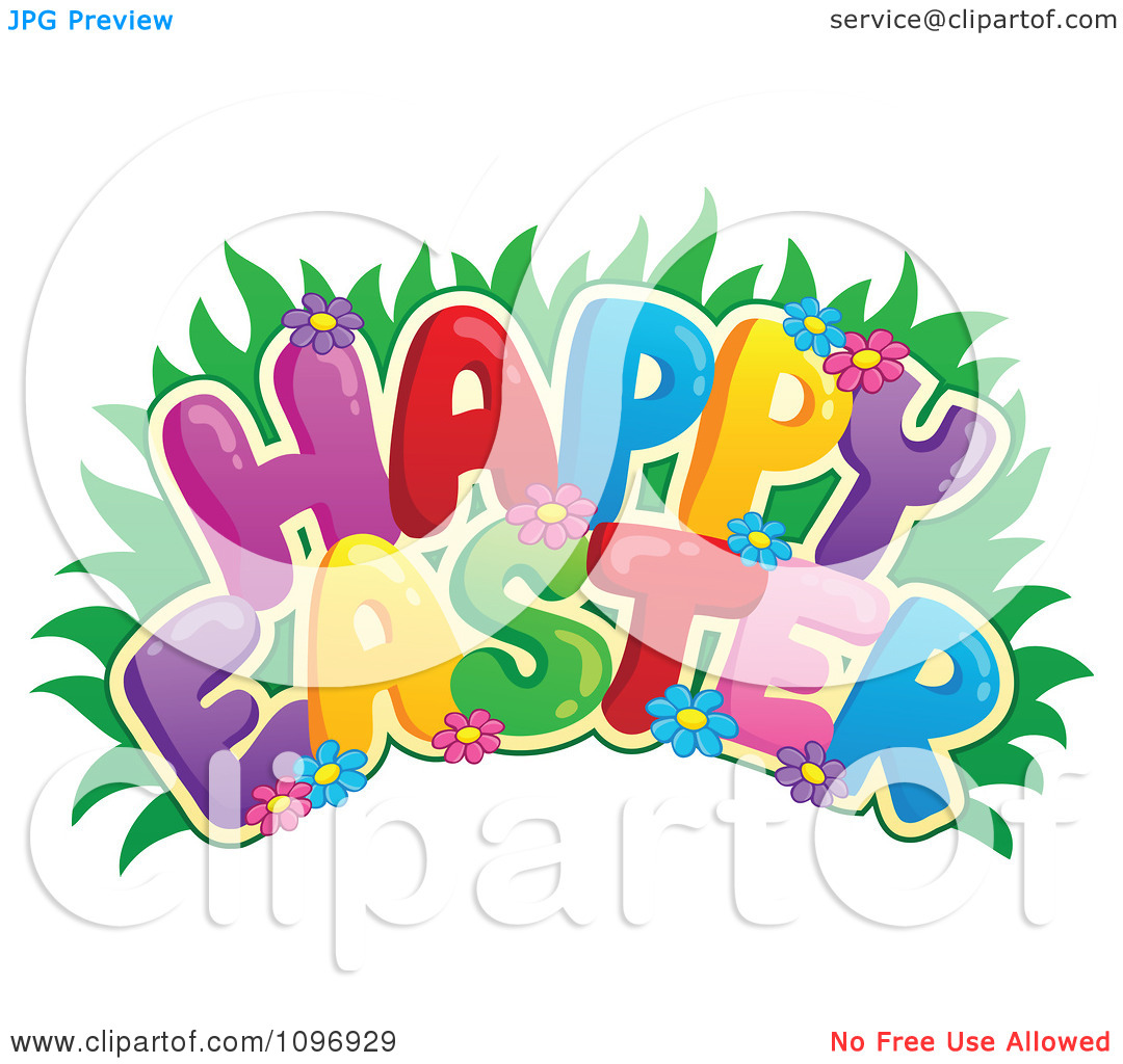 Clipart Colorful Happy Easter Greeting With Grass And Flowers.
