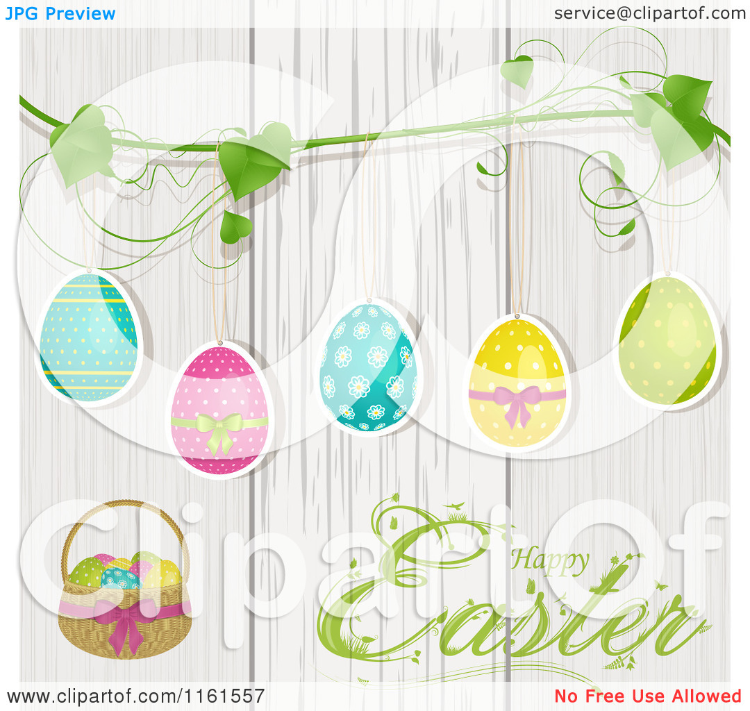 Clipart of a Happy Easter Greeting with Eggs Suspended from a Vine.