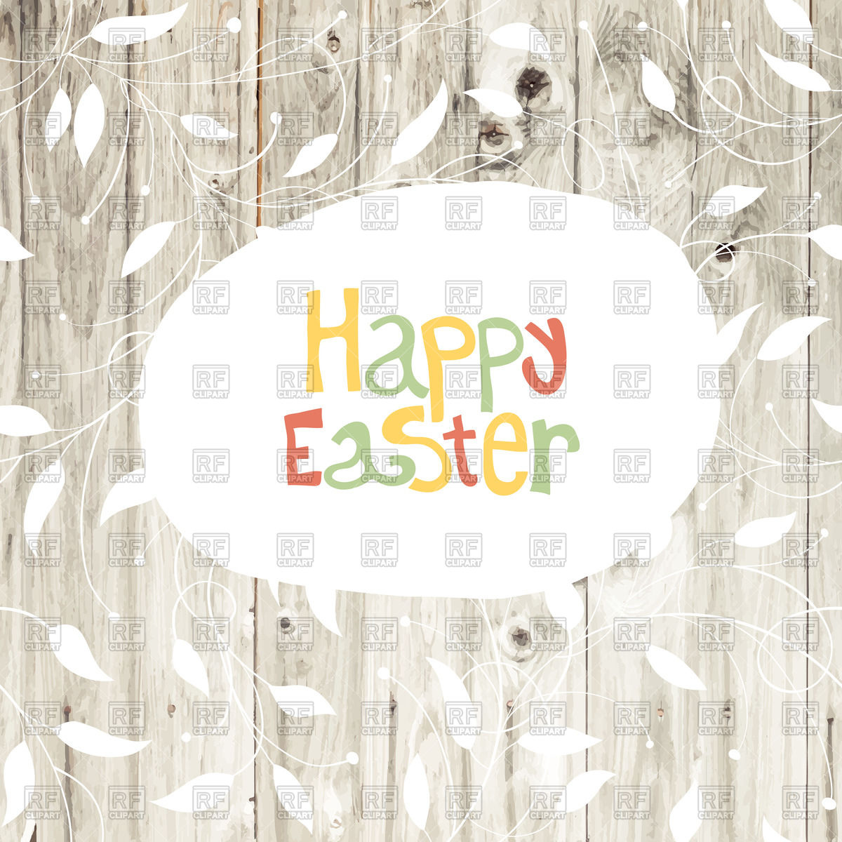 Happy Easter greeting card on wooden planks Vector Image #66122.