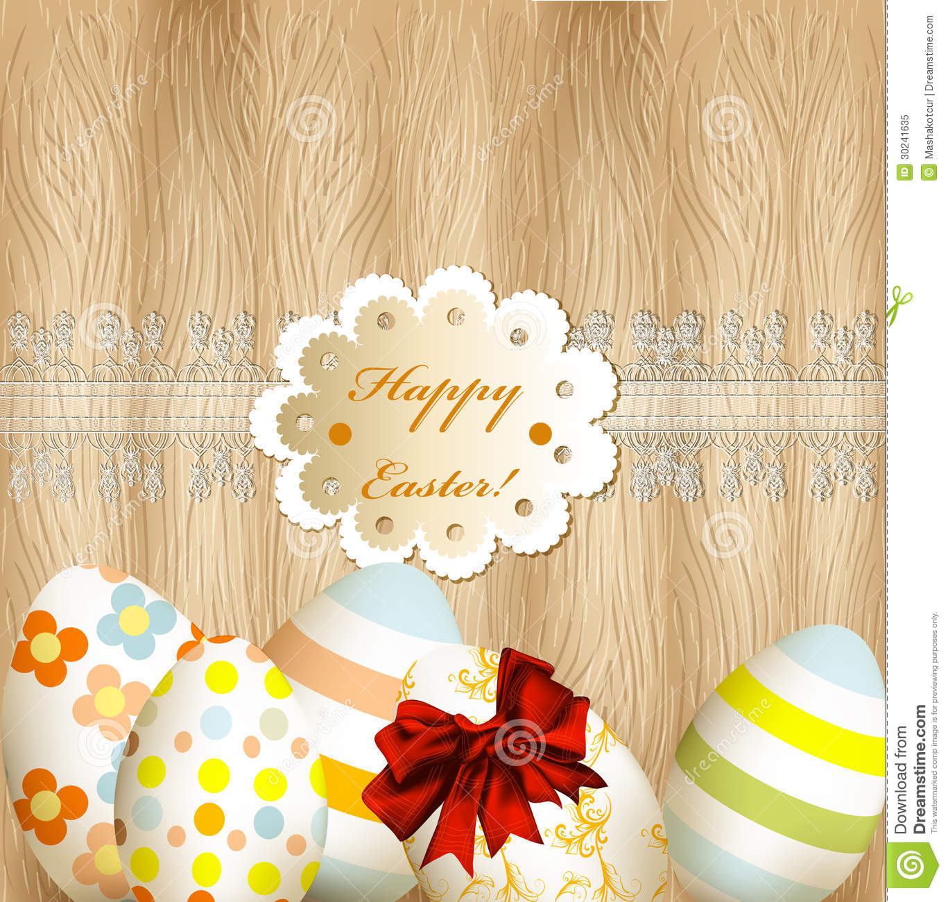 Easter Greeting Card With Eggs, Lace And Banner On Wooden Backgr.