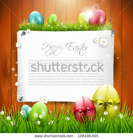 Easter Holidays Background Cartoon Happy Easter Stock Vector.