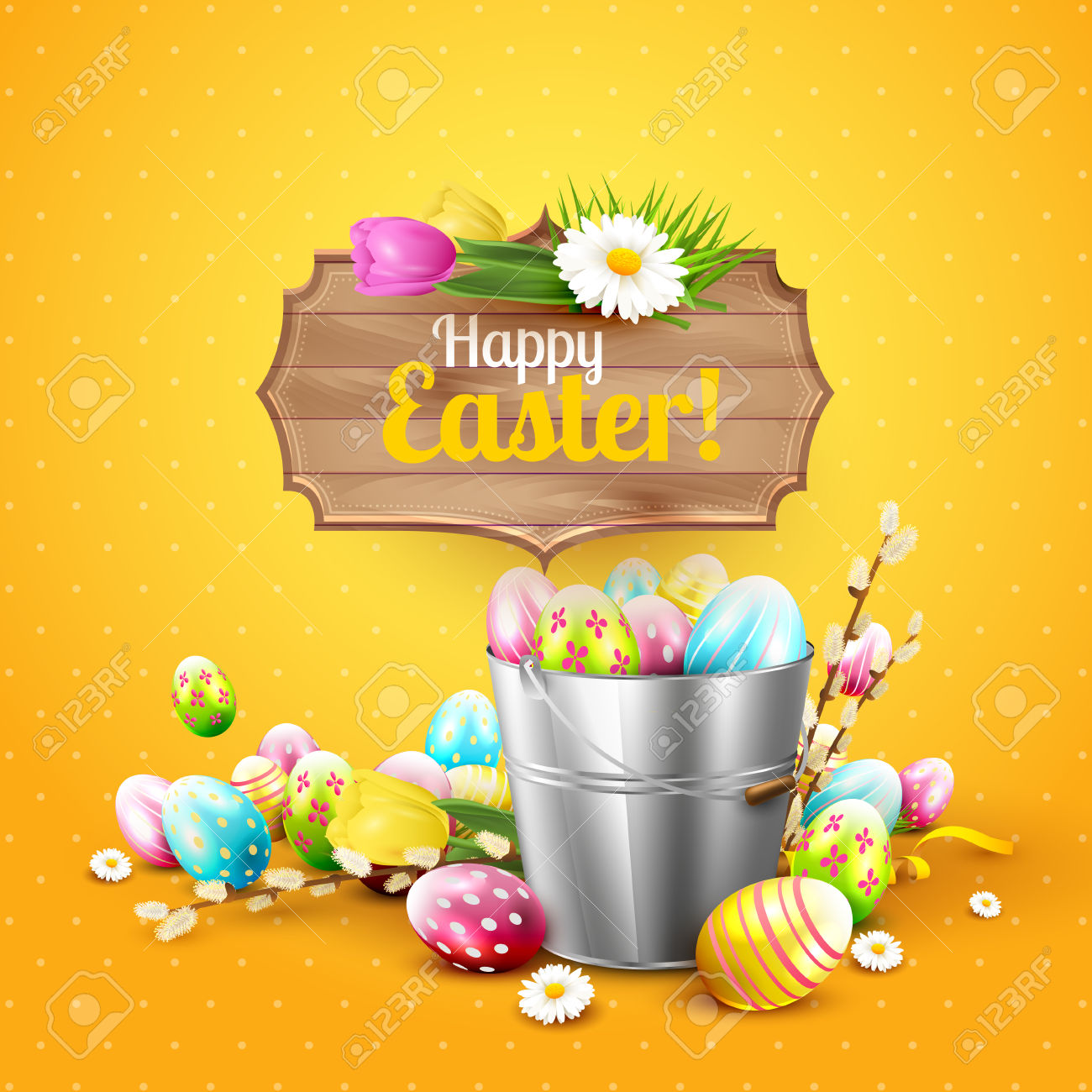 Easter Greeting Card With Flowers And Colorful Eggs In The Bucket.