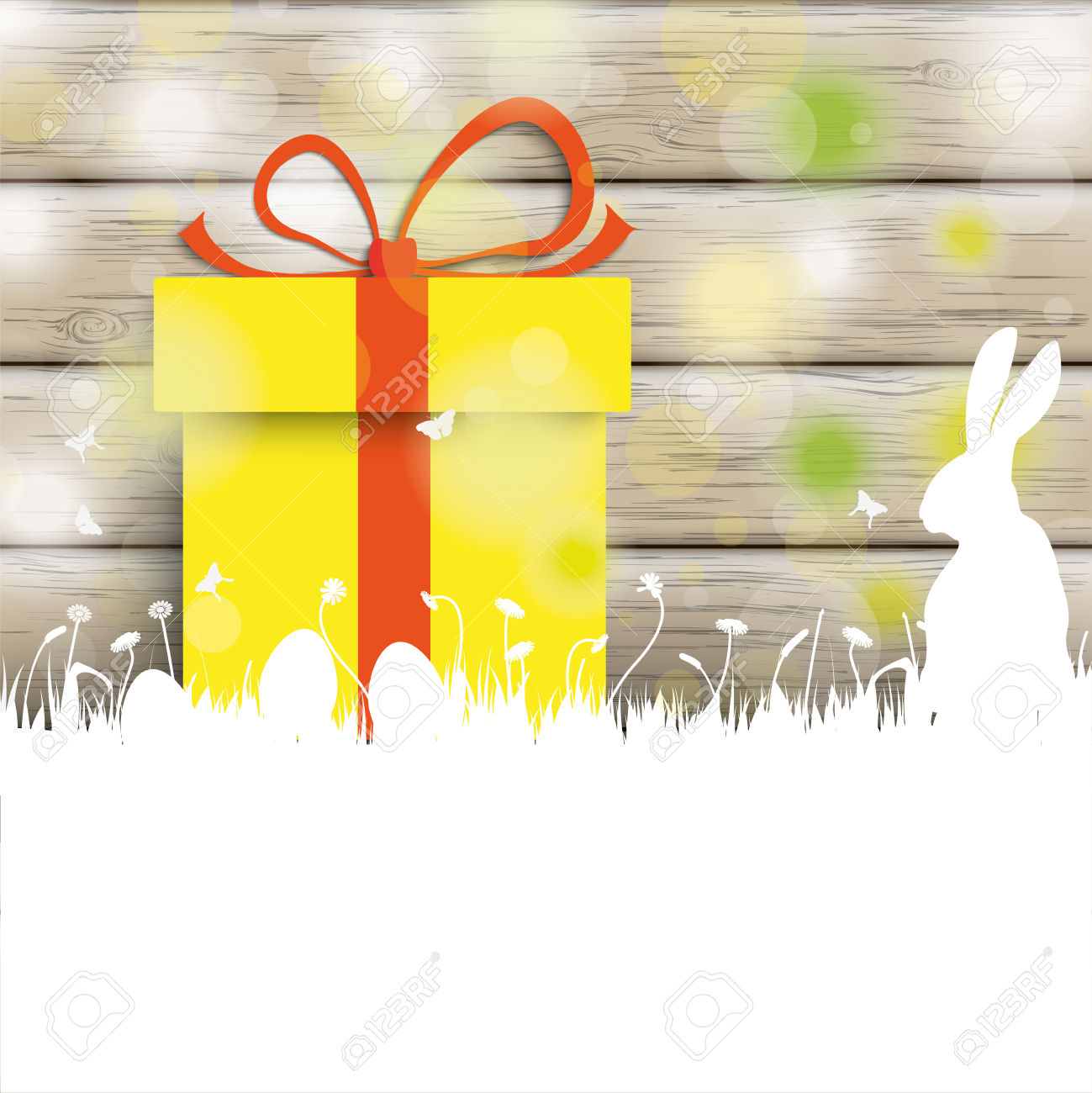 Easter Greeting Card With Rabbit, Gift And Lights On The Wooden.