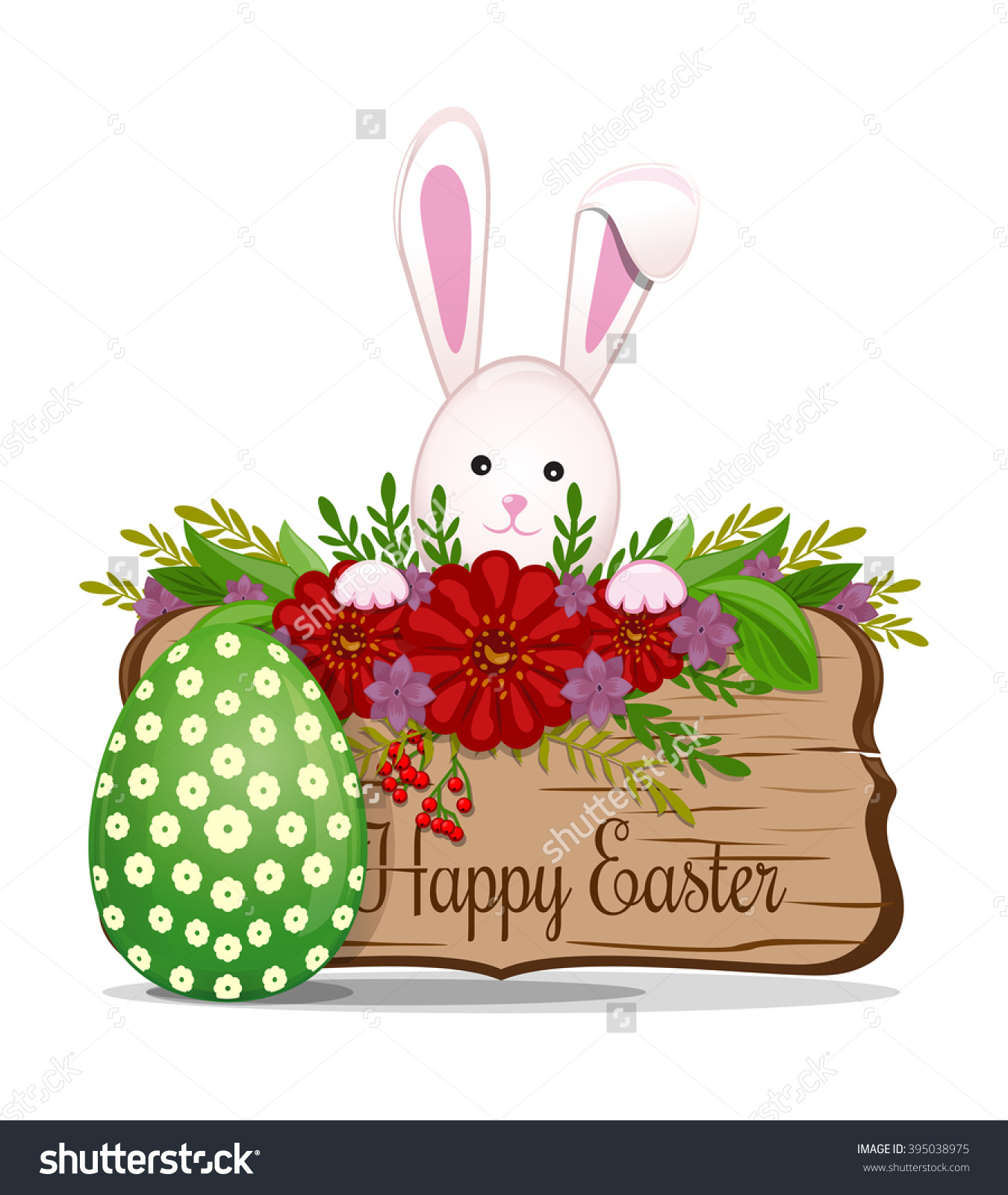 Easter Floral Ornament. Wooden Board With Greeting Inscription.