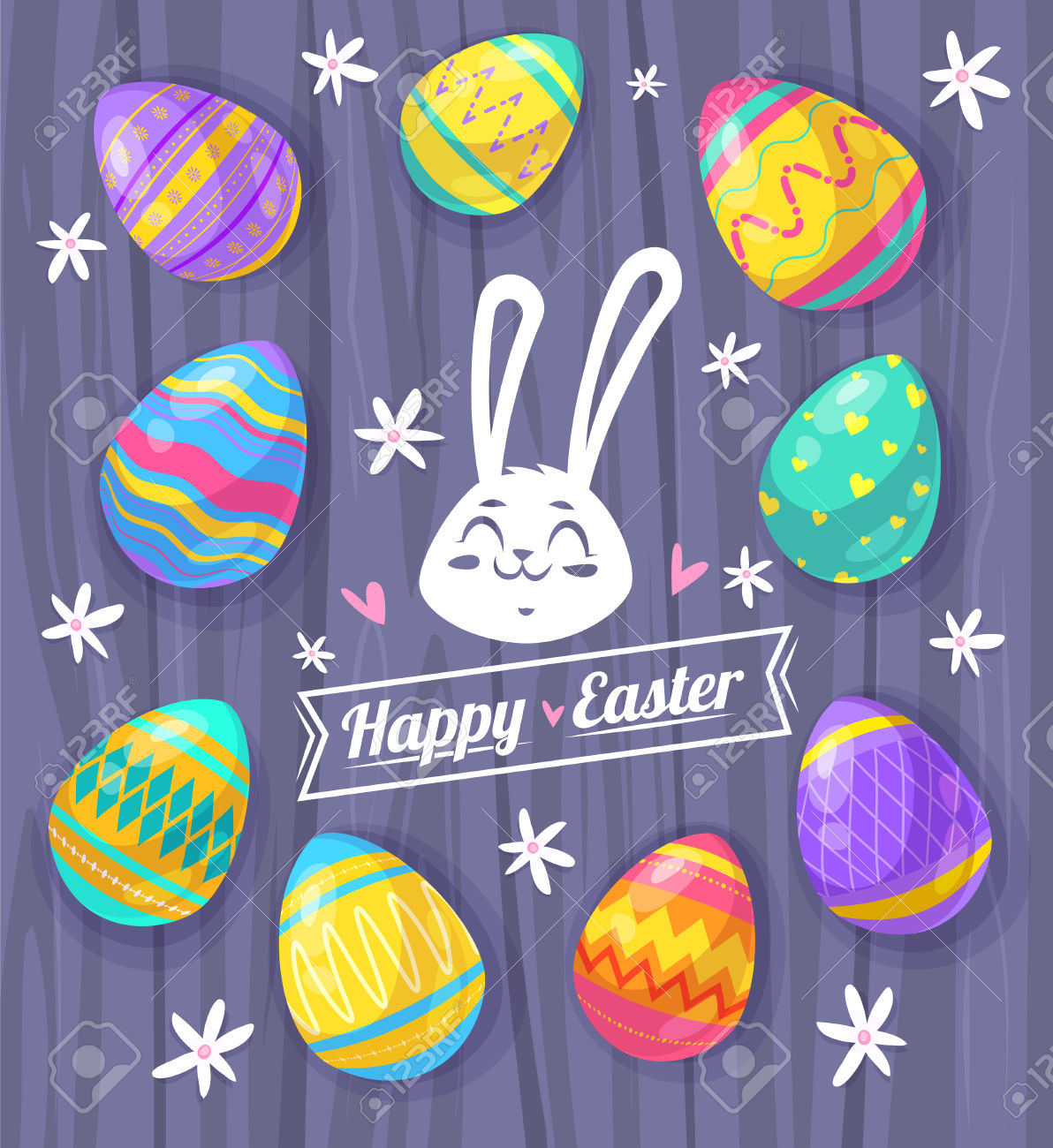 Happy Easter Greeting Card With Wood Texture And Eggs. Royalty.