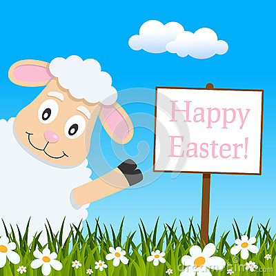 Happy Easter Greeting Card With Cute Lamb Stock Vector.