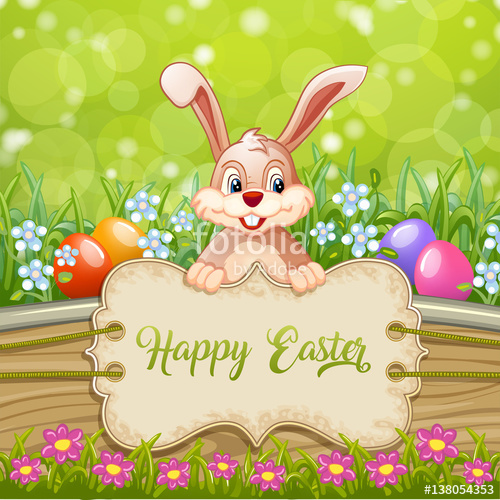 Cute Easter greeting card with bunny Easter ,eggs and flowers on.