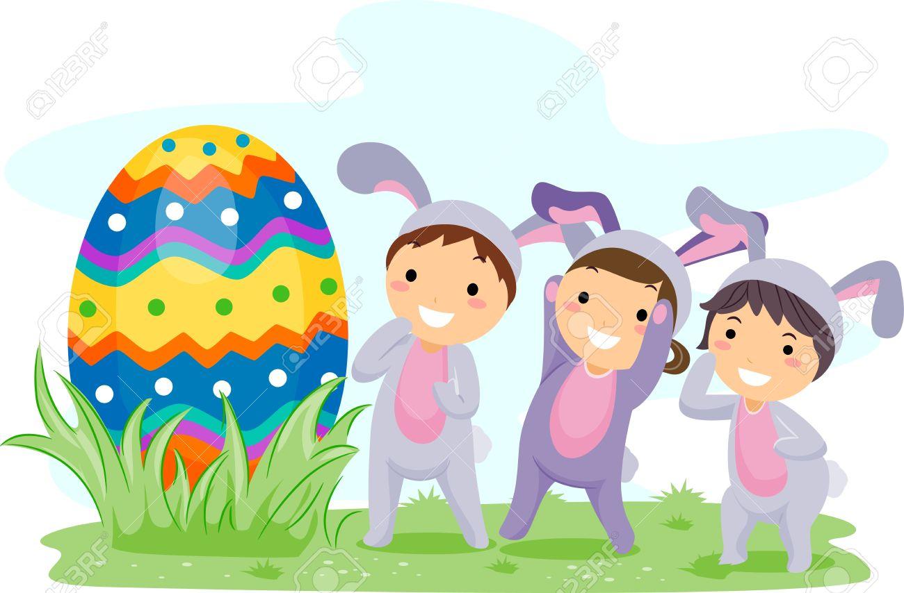 Easter egg hunt kids clipart.