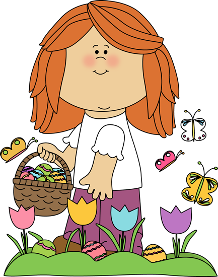 Girl on Easter Egg Hunt Clip Art.