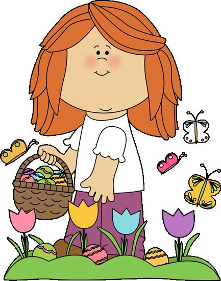 Girl on Easter Egg Hunt Clip Art.