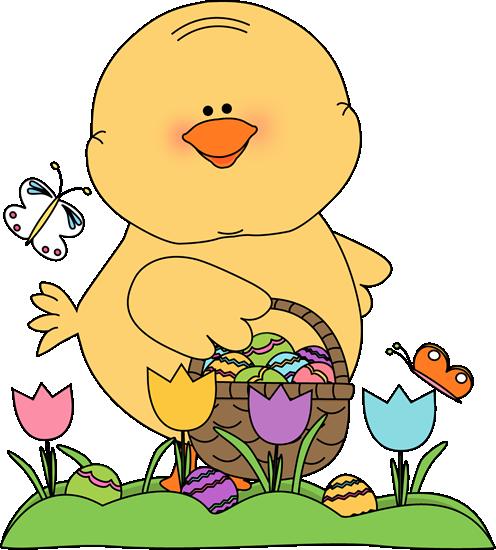 Chick on an Easter Egg Hunt Clip Art.