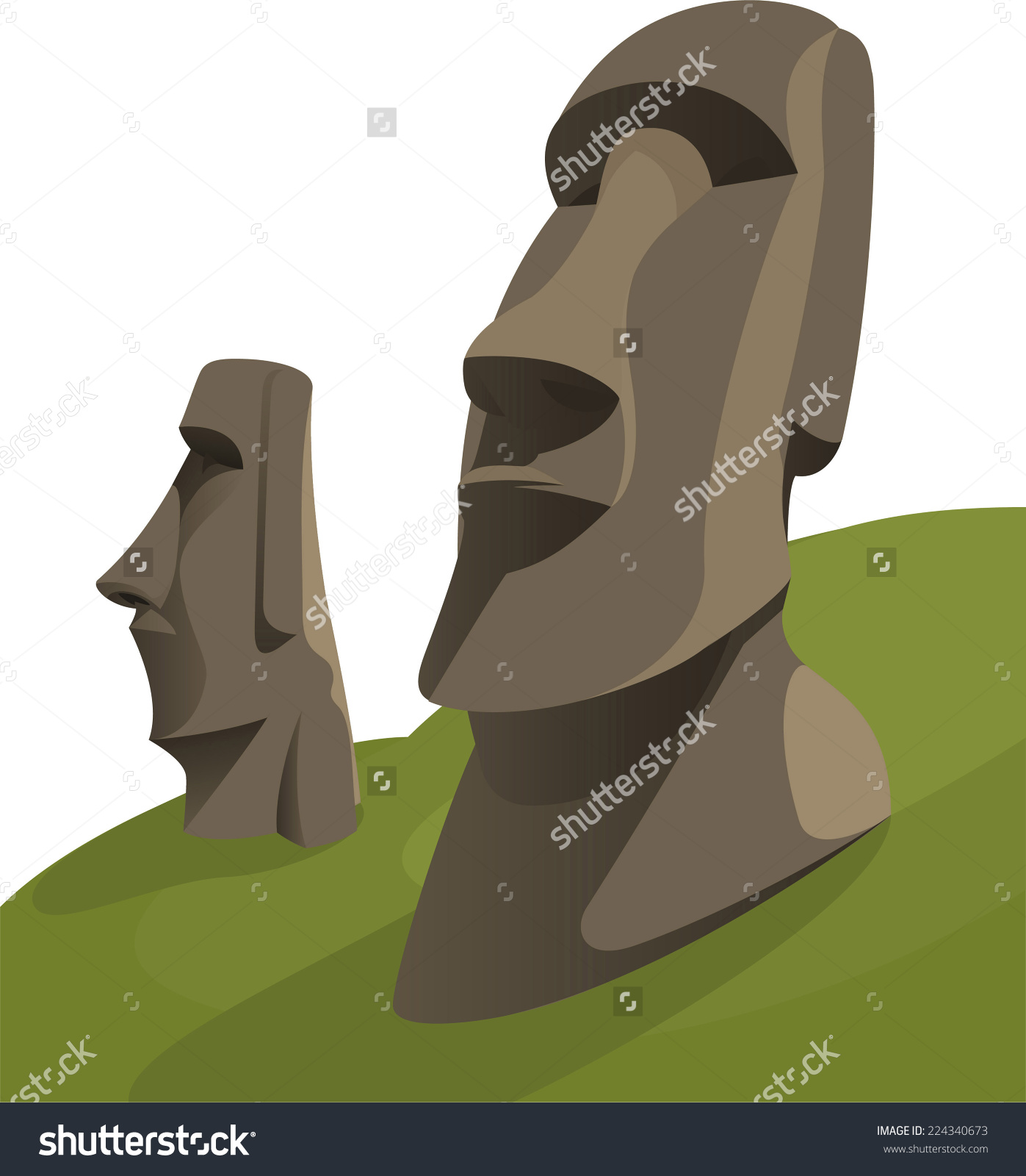 Moai Moais Monolithic Statues Polynesia Easter Stock Vector.
