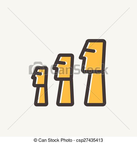 Vector Clip Art of Easter Island Statues thin line icon.