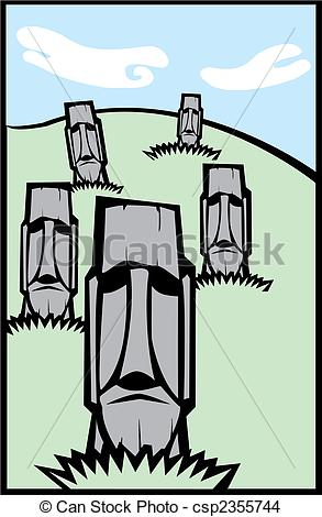 EPS Vector of Group of Moai #3.