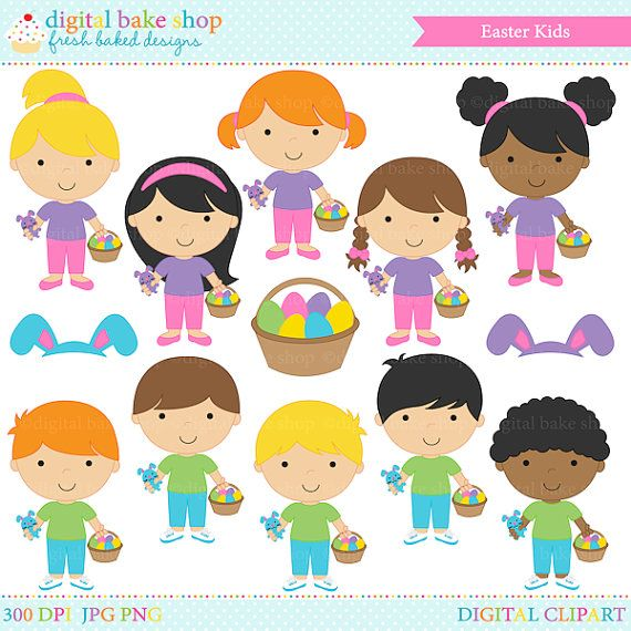 easter clipart clip art digital Easter Kids by.