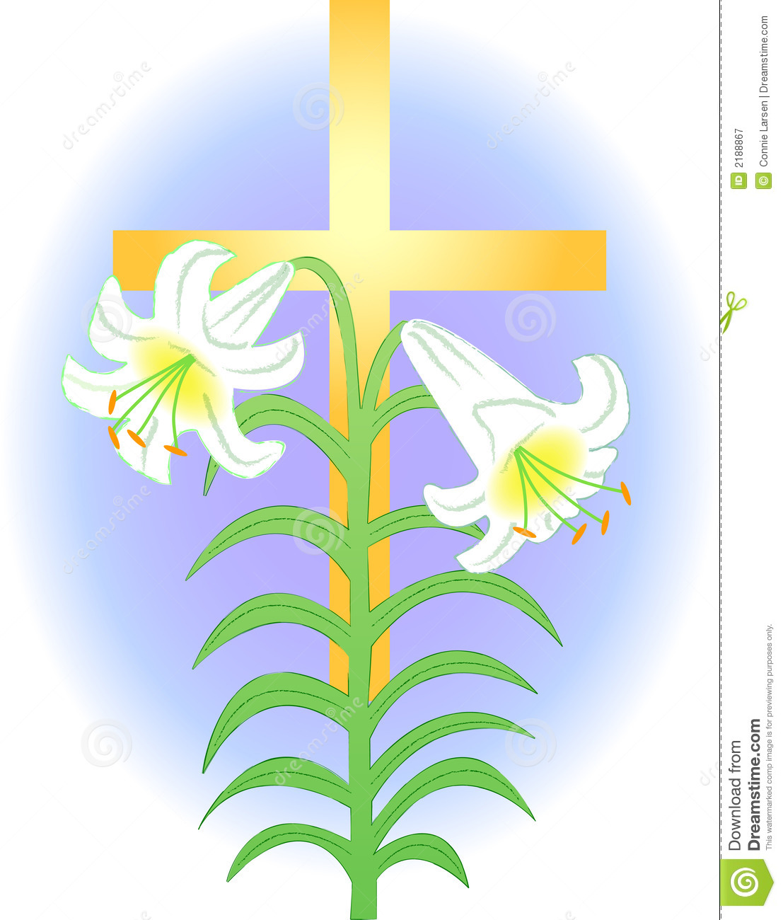 Easter Lily With Cross Clipart.