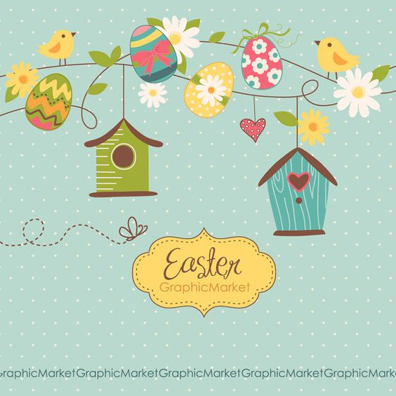Easter Digital Clip Art and card templates, Retro Easter eggs.