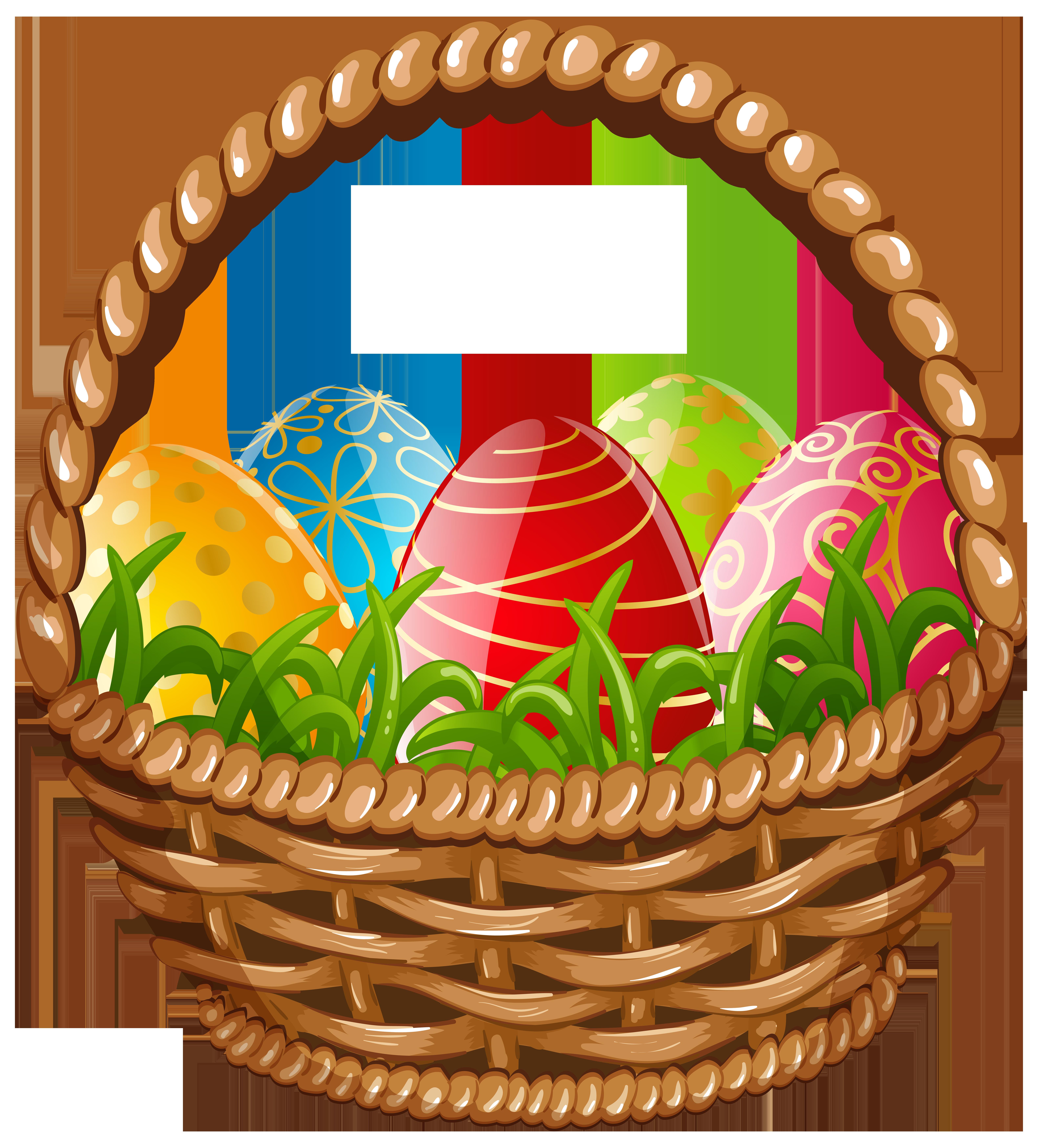Easter Egg Basket PNG Clip Art Image.