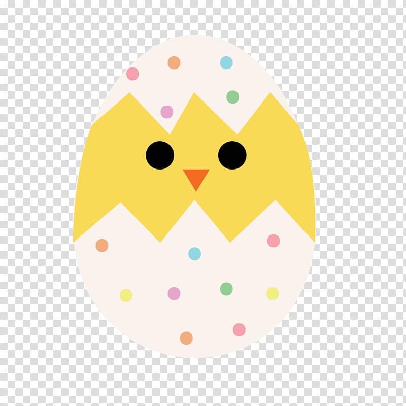Owl Yellow , Cartoon cartoon Easter eggs hatched chicks.