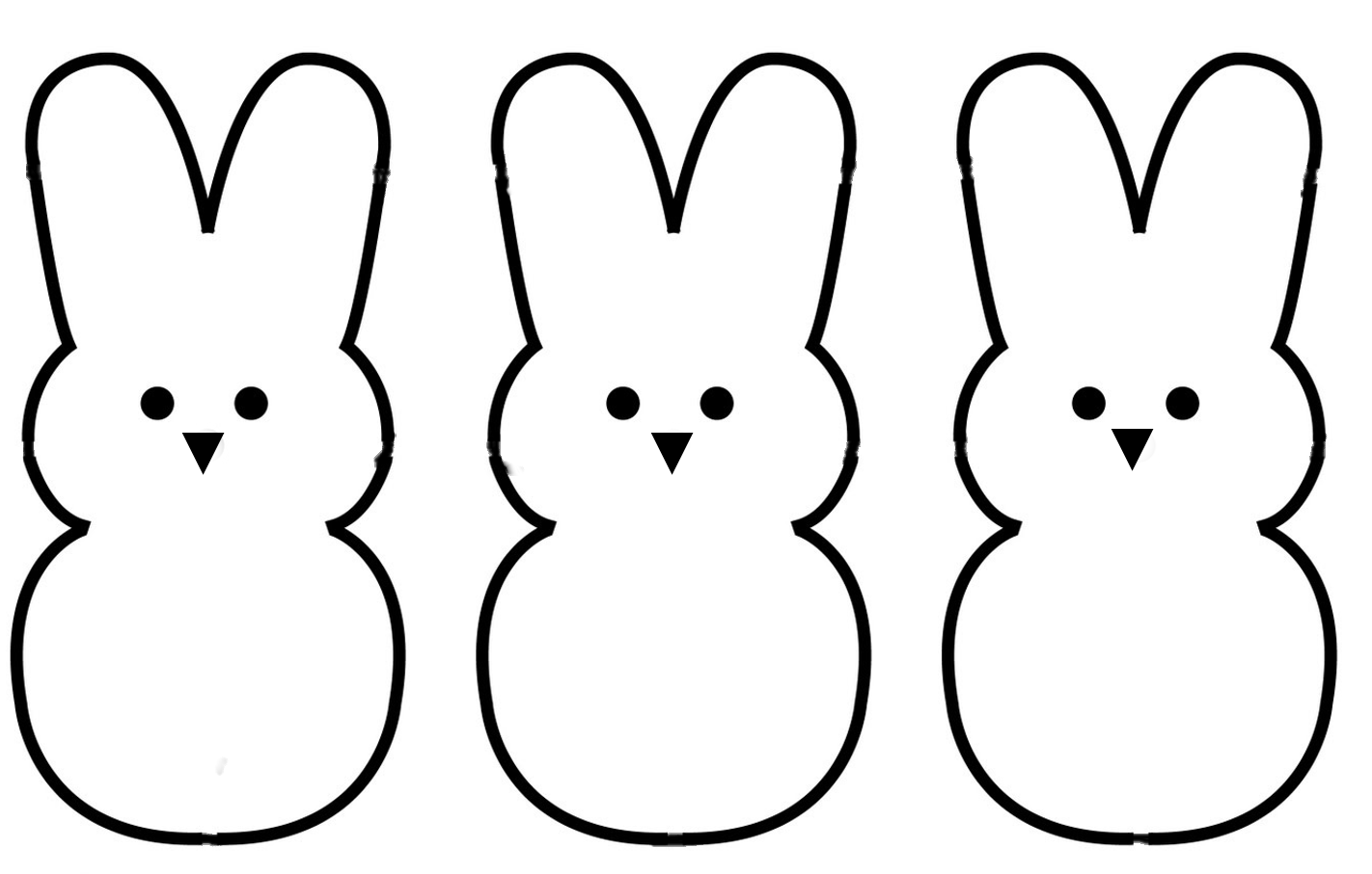 Easter Peeps Silhouette Clipart.