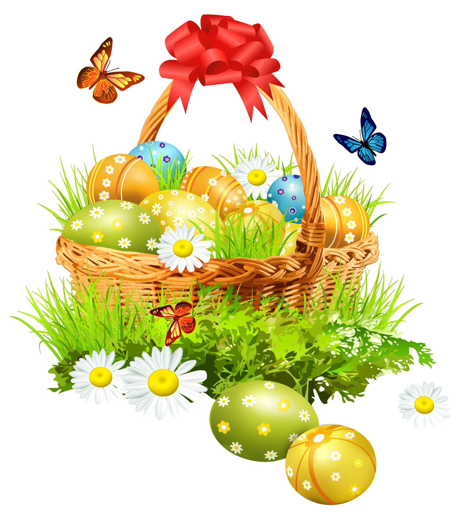Easter Basket with Eggsand Butterflies PNG Clipart Picture.