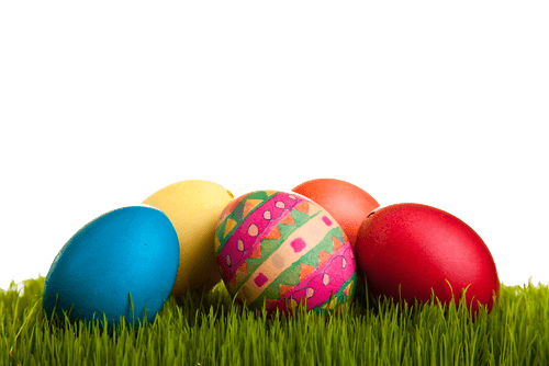 Easter Eggs On Grass transparent PNG.