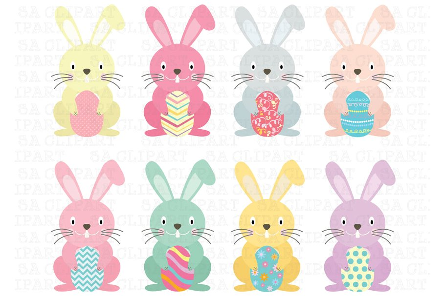 Easter Bunny Clipart ~ Illustrations ~ Creative Market.