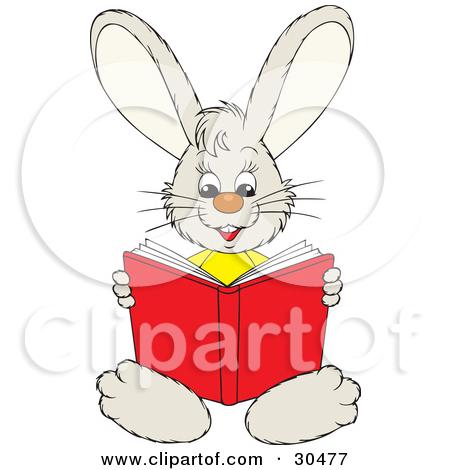 Bunny Reading Clipart.