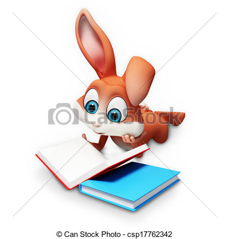 Drawing of Bunny reading a book.