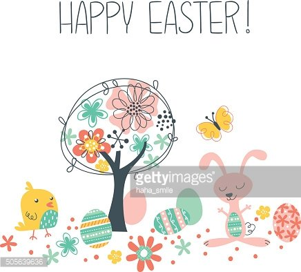 Happy Easter Scene Clipart Image.