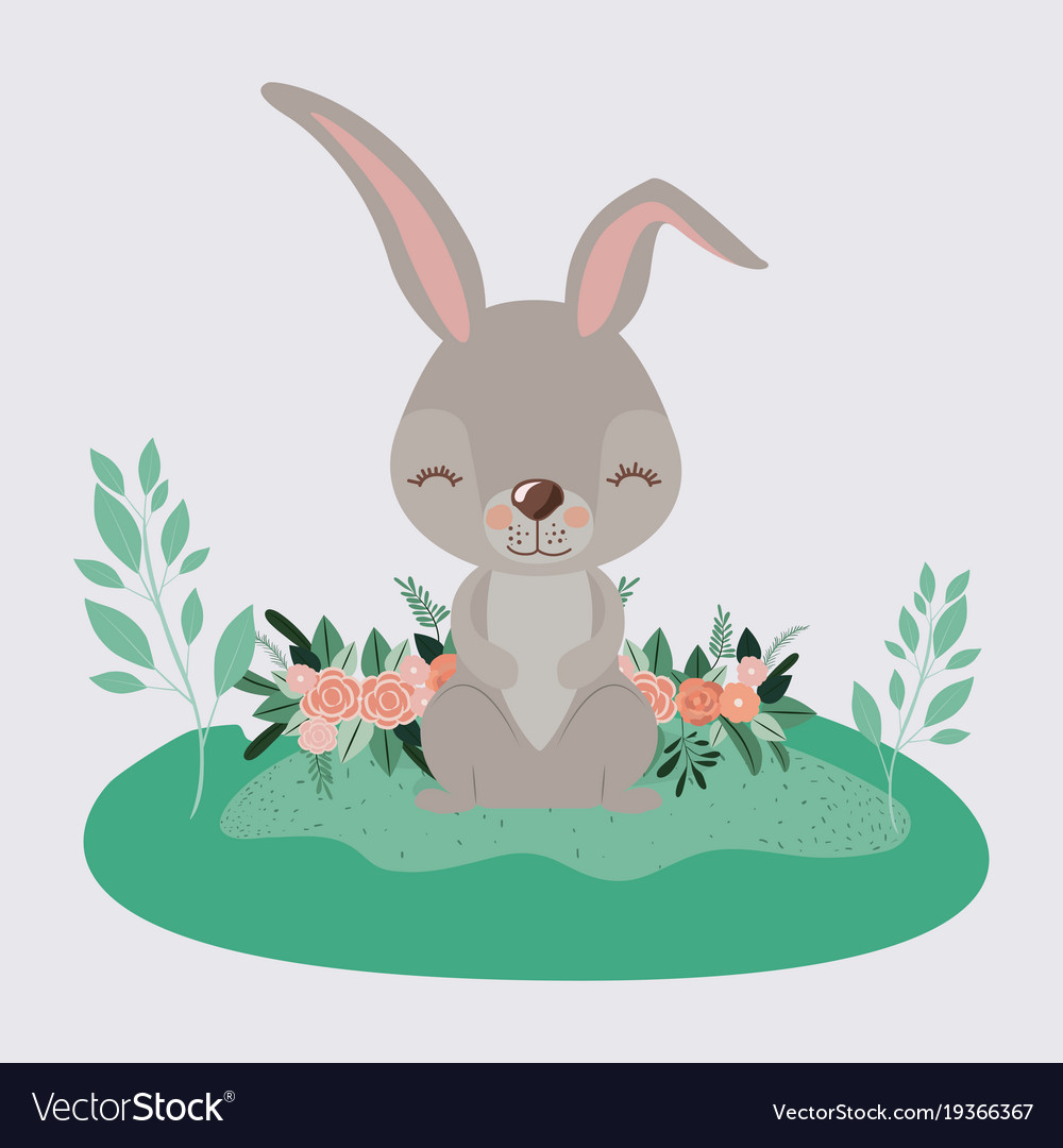 Easter landscape scene of rabbit with closed eyes.