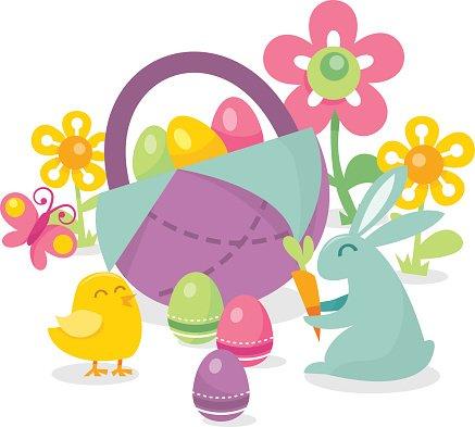 Retro Spring Easter Scene Clipart Image.