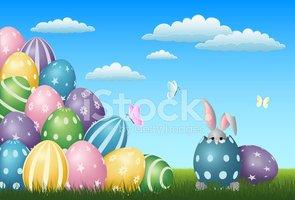 Easter Scene With Bunny stock vectors.