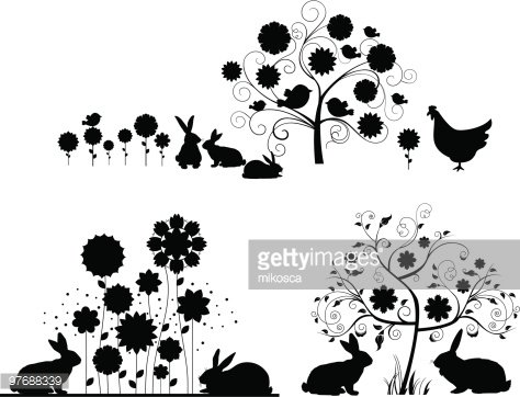 Set of Easter silhouettes. Clipart Image.