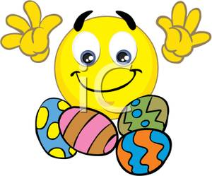 A Smiley Face with Easter Eggs Clipart Picture.