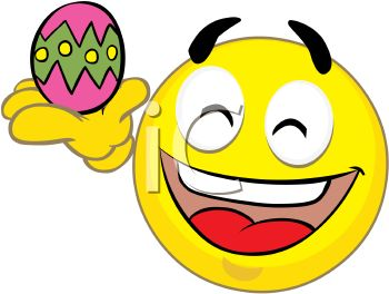 Holiday Smiley Holding an Easter Egg.