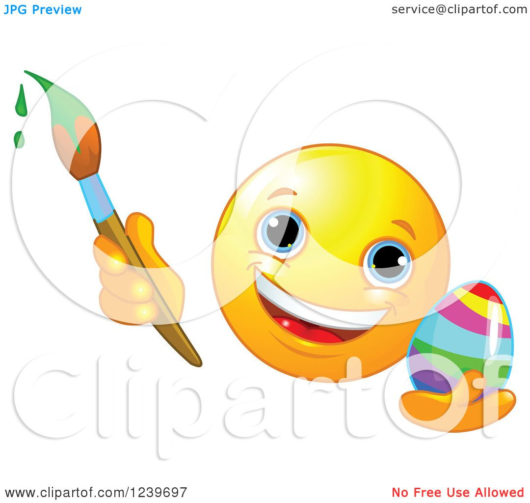 Clipart of a Happy Smiley Emoticon Painting an Easter Egg.