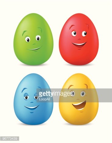 Funny Coloured Easter Eggs With Happy Faces premium clipart.