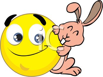 Royalty Free Clipart Image: Easter Smiley with the Easter Bunny.